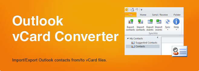 Outlook vCard Converter. Import/Export Outlook contacts from/to vCard files.